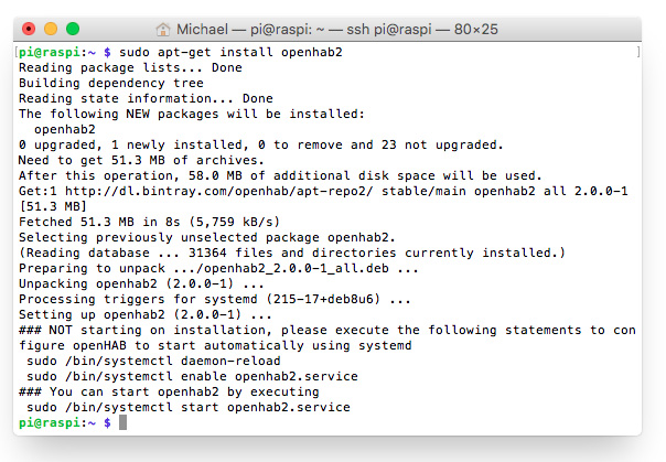 openHAB 2 auf dem Raspberry Pi: apt-get install