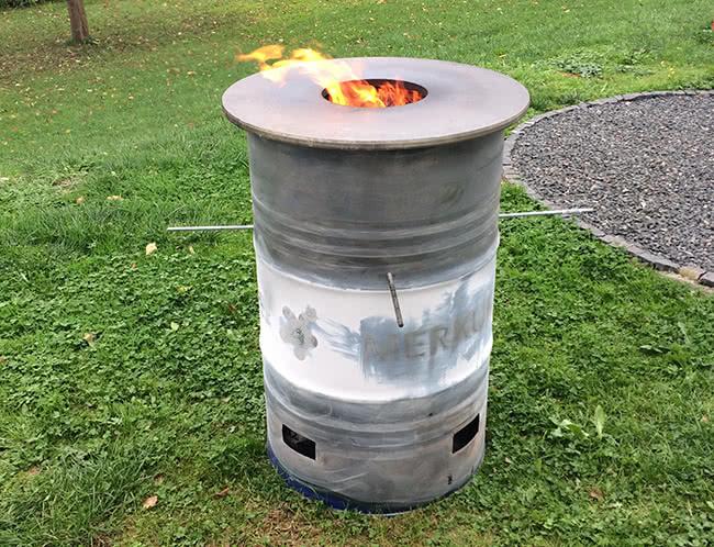 Feuerplatte beim ersten Einbrennen