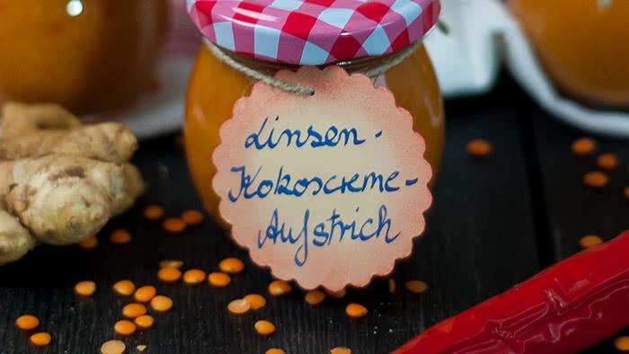 Linsen-Kokoscreme-Brotaufstrich